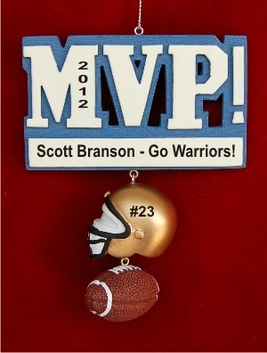 MVP Football Christmas Ornament Personalized by Russell Rhodes