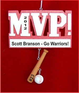 MVP Baseball Personalized Christmas Ornament