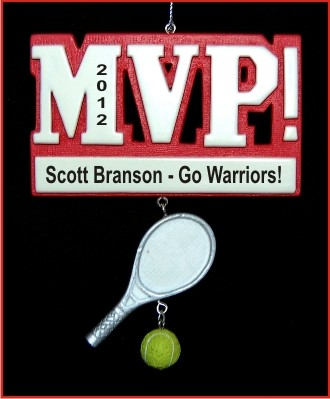 MVP Tennis Personalized Christmas Ornament