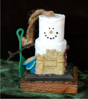 S'Mores Sun & Sand Castle Personalized Christmas Ornament