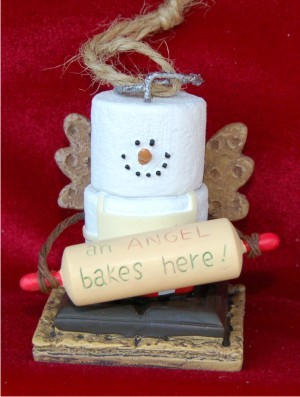 S'Mores Angel Bakes Here Personalized Christmas Ornament