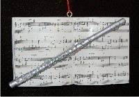Flute with Musical Score Personalized Christmas Ornament