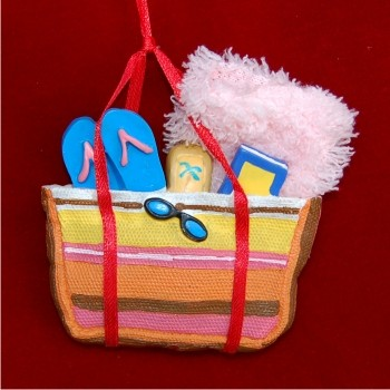 Beach Bag Personalized Christmas Ornament