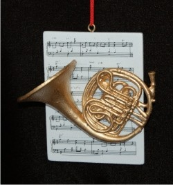 French Horn with Musical Score Personalized Christmas Ornament