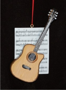 Guitar Acoustic with Musical Score Personalized Christmas Ornament