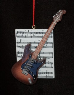 Guitar Electric with Musical Score Personalized Christmas Ornament