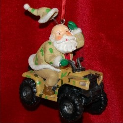 Santa Hunting ATV Personalized Christmas Ornament