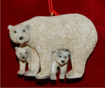 Polar Bear Mom with Her Cubs Christmas Ornament