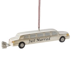 Just Married White Limo Personalized Christmas Ornament