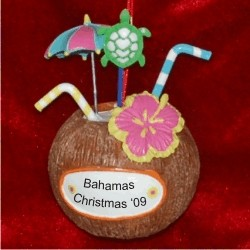 Coconut Shell Cocktail Personalized Christmas Ornament
