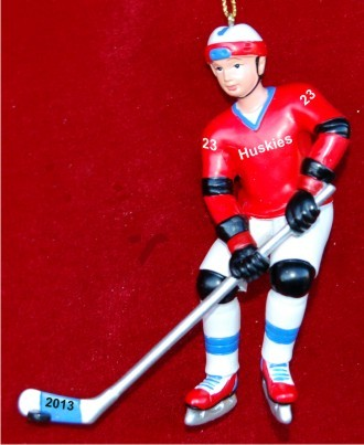 3D Hockey Player with Puck Christmas Ornament Personalized