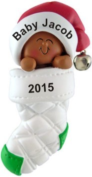 Bundled Up Baby African American Christmas Ornament Personalized by Russell Rhodes