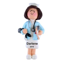 Nurse Female Brown Hair Personalized Christmas Ornament