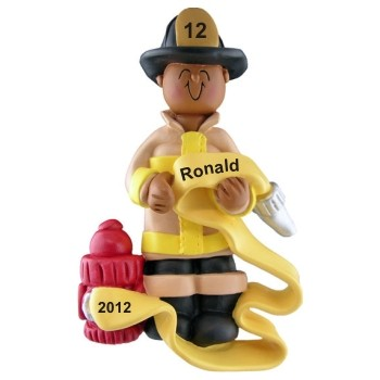 Male African-American Fireman Personalized Christmas Ornament