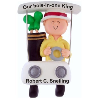 Golf Male in Golf Cart Personalized Christmas Ornament