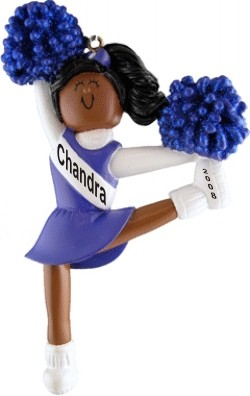 Cheerleader Blue Uniform African American Personalized Christmas Ornament