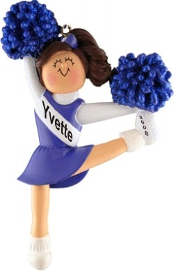 Cheerleader Brown w/ Blue Uniform Personalized Christmas Ornament