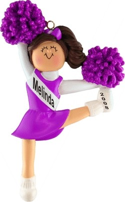 Cheerleader Brown w/ Purple Uniform Personalized Christmas Ornament