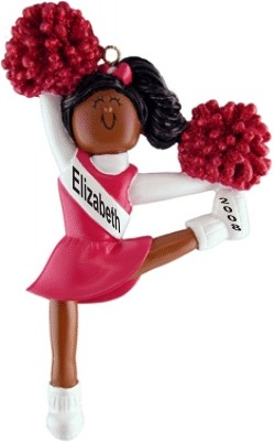 Cheerleader Red Uniform African American Personalized Christmas Ornament