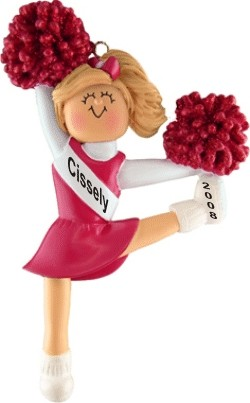 Cheerleader Blonde w/ Red Uniform Personalized Christmas Ornament