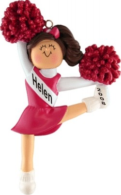 Cheerleading Brown w/ Red Uniform Personalized Christmas Ornament