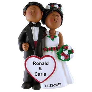 African American Couple Wedding Personalized Christmas Ornament