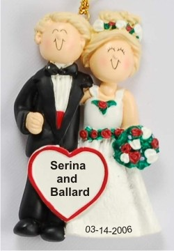 Wedding Couple Male & Female Blonde Hair Personalized Christmas Ornament