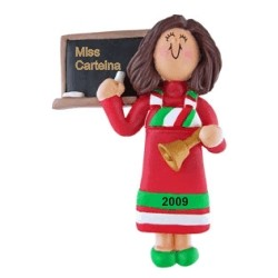 Teacher Brown Hair Personalized Christmas Ornament