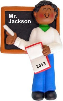 African American Male Teacher Personalized Christmas Ornament