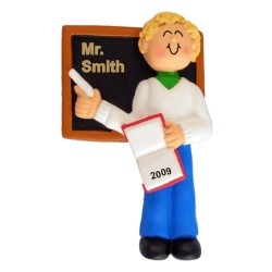 Teacher Male Blonde Christmas Ornament