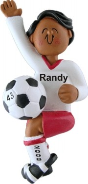 Soccer Player Male African American Personalized Christmas Ornament