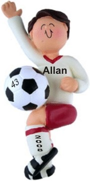 Soccer Player Male Brown Hair Christmas Ornament Personalized by Russell Rhodes