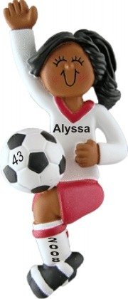 Soccer Player Female African American Personalized Christmas Ornament