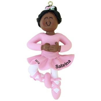 African-American Female Ballerina Christmas Ornament Personalized by Russell Rhodes