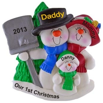 Snow Filled Fun Our First Christmas as a Family Personalized Christmas Ornament