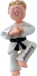 Karate Chop! Male Blonde Hair Christmas Ornament Personalized by Russell Rhodes
