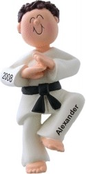 Karate Chop! Male Brown Hair Christmas Ornament