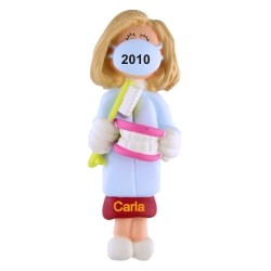 Dental Hygienist School Graduation Female Blonde Hair Personalized Christmas Ornament