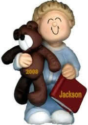 Child with Teddy, Male Blonde Hair Ornament for Toddler Personalized Christmas Ornament