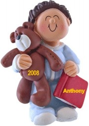 Child with Teddy, Male Brown Hair Ornament for Toddler Christmas Ornament