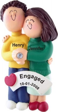 Engagement Couple Both Brown Hair Personalized Christmas Ornament