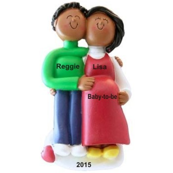 African-American Couple Pregnant Christmas Ornament