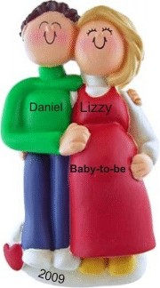 Pregnant Couple Male Brown Female Blonde Christmas Ornament Personalized by Russell Rhodes