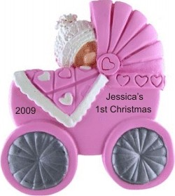 Cute as Can Be Buggy Pink Christmas Ornament Personalized by Russell Rhodes