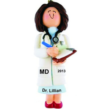 Medical School Graduation Gift Idea Female Brown Hair Christmas Ornament