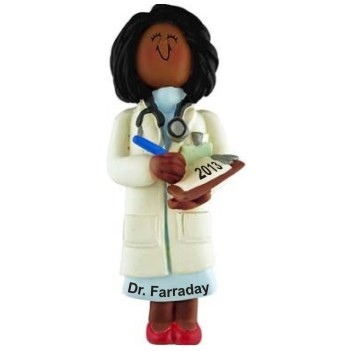 African American Female Doctor Christmas Ornament Personalized by Russell Rhodes