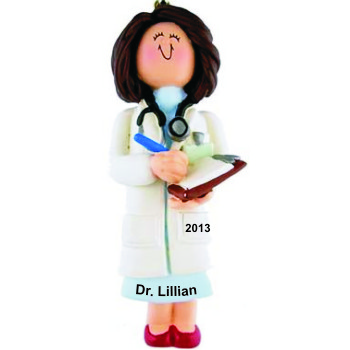 Doctor Female Brown Hair Personalized Christmas Ornament