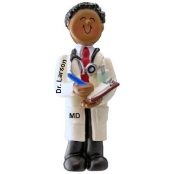 African American Male Med School Graduate Christmas Ornament