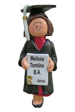 Graduation Female Brown Hair Christmas Ornament Personalized by Russell Rhodes