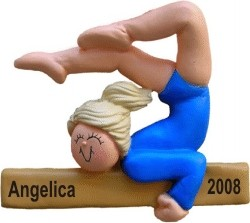 Gymnastics Female Blonde Hair Christmas Ornament Personalized by Russell Rhodes